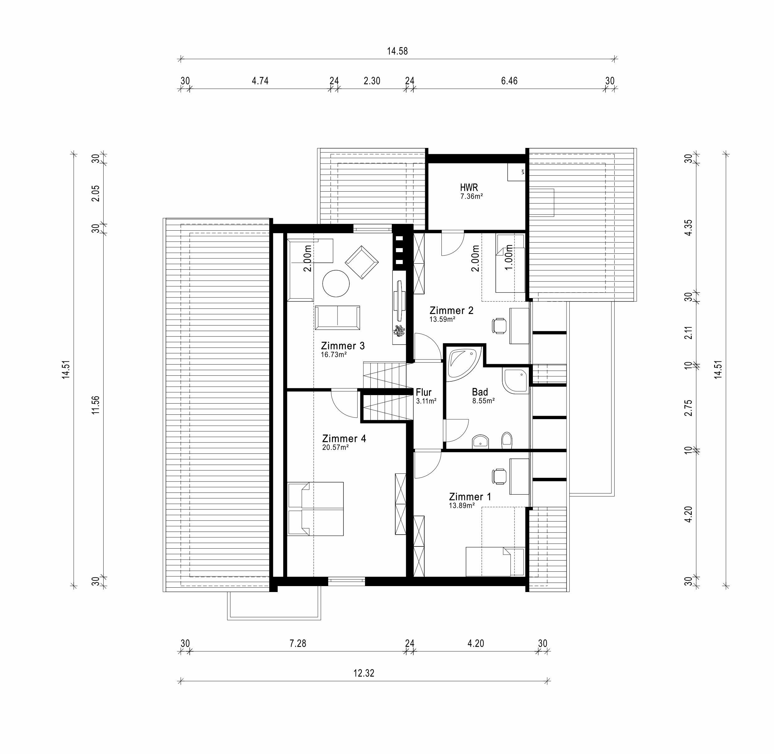 Grundriss Wohnebene 2 und 3